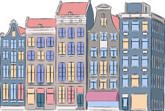 Vector. Amsterdam. Multi-colored houses. Royalty Free Stock Image