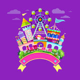 Vector Amusement park flat concept design. Colorful background, illustration Royalty Free Stock Photos