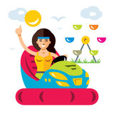 Vector Amusement park. Flat style colorful Cartoon illustration. Girl drives a car bumper. Isolated on a white background Stock Image