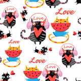 Vector amusing pattern in love cats Royalty Free Stock Photography