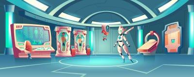Vector anabiosis room, medic robot and astronauts stock illustration