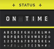 Vector airport flip board timetable with flight departure or arrival status On time. Vector analog flip board timetable showing airport flight information of royalty free illustration