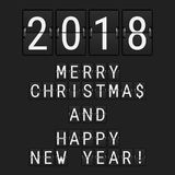 Vector Analog Flip Numbers 2018 and Flip Letters Merry. Christmas and Happy New Year. Greeting Card made of Airport Flip Board Symbols vector illustration