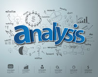 Vector analysis text with creative drawing charts. Analysis text, With creative drawing charts and graphs business success strategy plan idea, Inspiration Royalty Free Stock Images