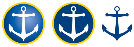 Vector anchor. Dark blue  anchor icon Stock Photography