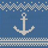 Vector anchor ornament on the wool knitted texture Royalty Free Stock Image