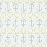 Vector anchor pattern and twisted rope Royalty Free Stock Photo