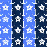 Vector  anchor seamless pattern. Vector anchor seamless pattern in blue color Stock Image