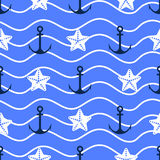 Vector  anchor seamless pattern. Vector anchor seamless pattern in blue color Royalty Free Stock Photos