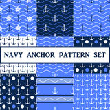 Vector  anchor seamless pattern set. Vector anchor seamless pattern in blue color set Royalty Free Stock Photography