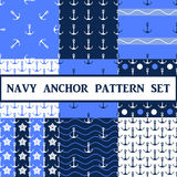 Vector  anchor seamless pattern set. Vector anchor seamless pattern in blue color set Royalty Free Stock Image