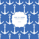 Vector anchors blue and white frame seamless Stock Images