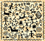 Vector ancient  petroglyphs pattern Stock Images