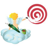 Vector angel with a brush and a bucket of paint. Draws target. Stock Images