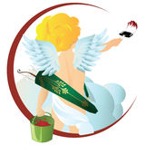 Vector angel with a brush and a bucket of paint. Stock Image