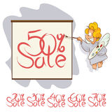 Vector angel painting brush on a poster. Notice of sale. Stock Photos