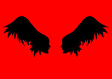 Vector angel wings. two profiles of individuals with wing - hair Stock Image