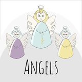 Vector angels on a white background. Hand-drawn in the style of doodle. objects stock illustration