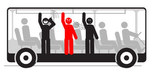 Vector angry passenger in bus full of people. Vector illustration of angry passenger in bus with screaming and stinky people stock illustration