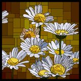 Vector stained glass window with blooming daisies. royalty free illustration