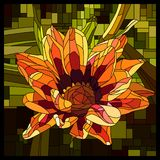 Vector stained glass window with blooming orange gazania. stock illustration