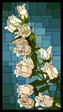 Vector stained glass window with blooming white campanula with b stock illustration