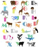 Vector Animal and Alphabet Letters. Vector illustration of alphabet letters with animals. education background. animals and alphabet royalty free illustration