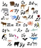 Vector Animal and Alphabet Letters. Vector illustration of alphabet letters with animals. education background. animals and alphabet vector illustration