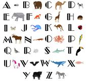 Vector Animal and Alphabet Letters. Vector illustration of alphabet letters with animals. education background. animals and alphabet stock illustration
