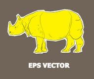 Vector animal de la etiqueta engomada del rinoceronte Imágenes de archivo libres de regalías