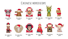 Vector animal Heads in red caps scarfs. Chinese horoscope symbols stock illustration