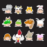 Vector Animal and kid Sticker Collection Royalty Free Stock Photos