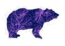Vector animal Logo Symbol del oso negro con los elementos del diseño del garabato con remolinos fotografía de archivo
