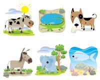 Vector animal set, cow, crocodile, dog, donkey, elephant, fish,. Cartoons animal set for education cow crocodile dog donkey elephant fish zoo and background stock illustration