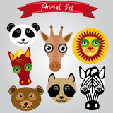 Vector animal set panda, giraffe, lion, horse, bear, raccoon, zebra Royalty Free Stock Photos