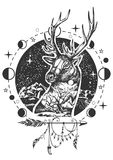 Vector deer head tattoo or t-shirt print design. Vector animal tattoo or t-shirt print design. Deer head combined with nature, moon phases and boho elements