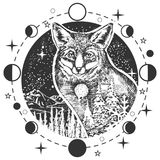Vector fox head tattoo or t-shirt print design. Vector animal tattoo or t-shirt print design. Fox head combined with nature in round frame with moon phases