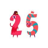 Vector animallike character number twenty five 25 Stock Photo