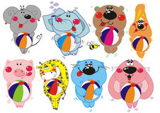 Vector animals. Vector set of eight cartoon animals Royalty Free Stock Image
