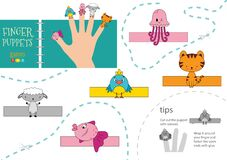 Free Vector Animals As Finger Puppets. Cut And Glue Activity For Preschool Kids Royalty Free Stock Photo - 171871515