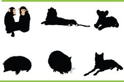 Vector animals collection. Vector silhouettes of different animals royalty free illustration