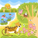 Vector animals on the forest. Vector set of wild animals on the forest. Tiger, duck, birds and other animals Royalty Free Stock Image