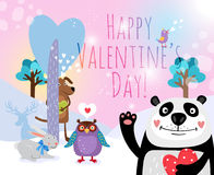 Vector animals with hearts on Valentines Day for Royalty Free Stock Photo