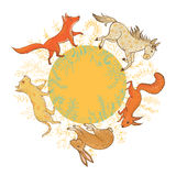 Vector animals inside floral wreath Royalty Free Stock Photography