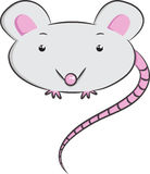 Vector animals, mouse. Illustration of cute isolated grey mouse Stock Images