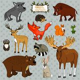 Vector animals owl deer fox Royalty Free Stock Image