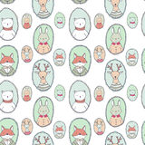Vector animals portraits pattern Stock Photos