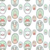 Vector animals portraits pattern Stock Photos
