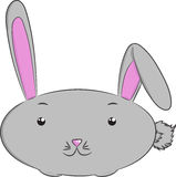 Vector animals, rabbit. Illustration of cute isolated grey rabbit Stock Photography