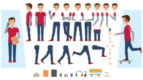 Vector flat male teenager creation set. Vector animated young man character. Male teenager creation set front, side view, various items phone, skateboard Royalty Free Stock Image
